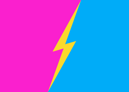 Versus lightning background pink cyan color style. Sport banner, competition, contest, match game, announcement of two fighters, battle. VS concept pop art comic style. Vector