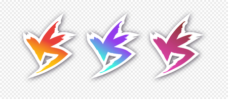 Versus vector sign set modern gradient style with shadow isolated on transparent background for battle, sport, competition, contest, match game, announcement of two fighters. VS icon.