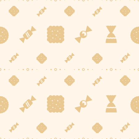 vector simple pattern with sweet icons flat style for menu, bakery shop, website, dessert banner, cupcake, cafe, restaurant, packaging wrapping paper. Baked background