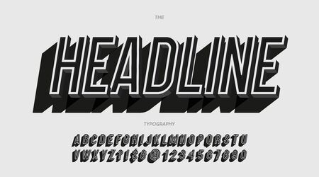 Vector headline alphabet slanted style trendy typography for  banner, decoration, t shirt, party poster, printing, promotion, stamp, label, game, special offer. Modern alphabet. 10 eps