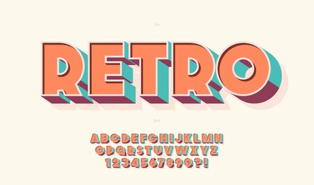 Vector retro 3d font 80s style modern typography. Cool vintage typeface for  party poster, t shirt, decoration, book, card, banner, printing, industrial, promotion, offer. Trendy alphabet. 10 eps Foto de archivo - 131804412