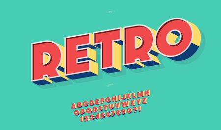 Retro font 3d bold style trendy typography for party poster, decoration, logotype, t shirt, book, card, banner, printing on fabric, industrial. Cool vintage typeface. Modern alphabet. Vector 10 eps Ilustração