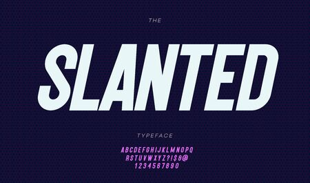 Vector slanted font italic style for t shirt, flyer, printing, decoration, banner, infographics, motion graphic, party poster, book, music, game. Cool typeface. Trendy alphabet. 10 eps Foto de archivo - 131805924