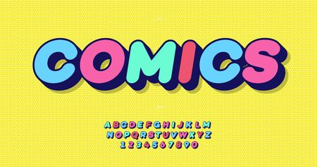 Vector aVector comics 3d bold font colorful style for event, banner, infographics, motion graphic, party poster, book, music, t shirt, flyer, decoration, printing, industrial. Cool typeface. 10 eps Foto de archivo - 131805840