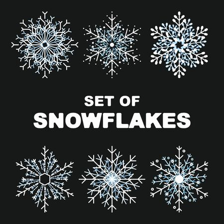 hand draw snowflake set cute style isolated on background for greeting cards, animation, printing, party poster, banner, promotion, web design, decoration. Christmas symbol. Vector 10 eps Foto de archivo - 131046952