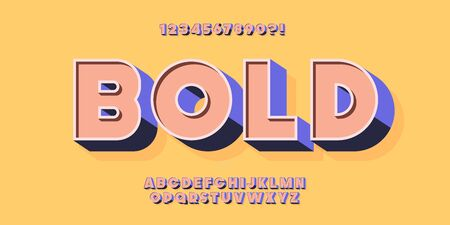Vector 3D bold typeface colorful style