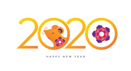 Happy New 2020 Year colorful banner