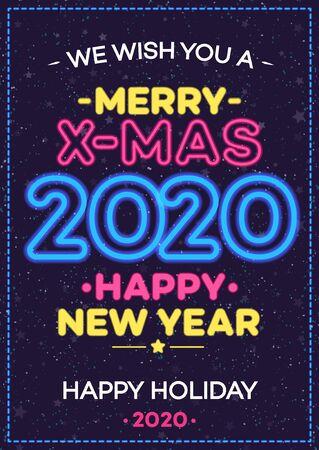 2020 christmas celebration neon poster