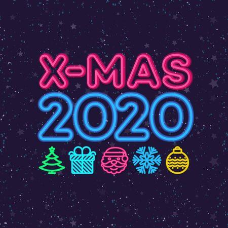 Christmas greeting card neon style