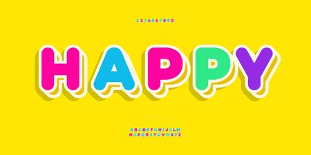 Vector font 3d bold colorful style