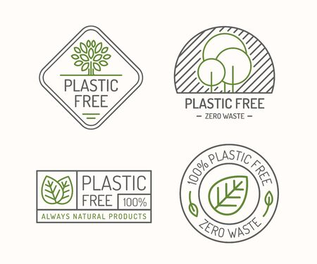 Plastic free icon sign set