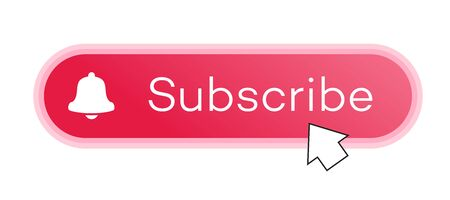 Subscribe red button with arrow cursor and notification bell modern style for channel, blog, vlog, social media, motion, video, marketing isolated on white background. Vector 10 eps