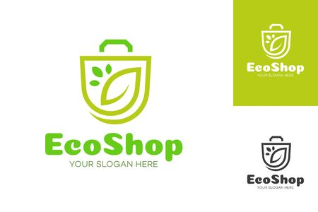 Eco shop  consisting of shopping bag and leaf