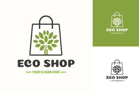 Eco shop  consisting of shopping bag and tree