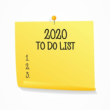 2020 to do list on realistic yellow sticker