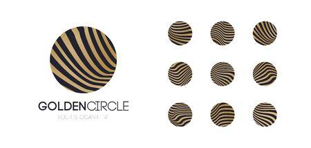 Vector golden circle set Illustration