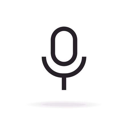 Microphone icon vector modern line flat style