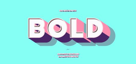 Vector 3d bold font colorful style