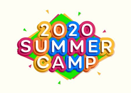 2020 Kids summer camp banner cartoon style