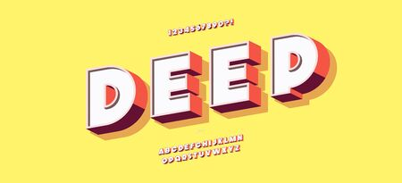 Deep font 3d bold style modern typography