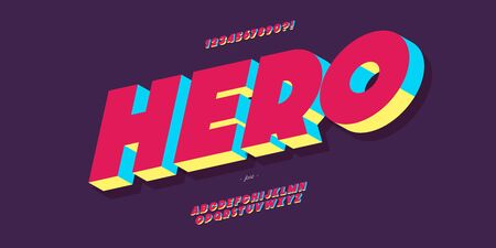 Vector hero font 3d bold colorful style Illustration