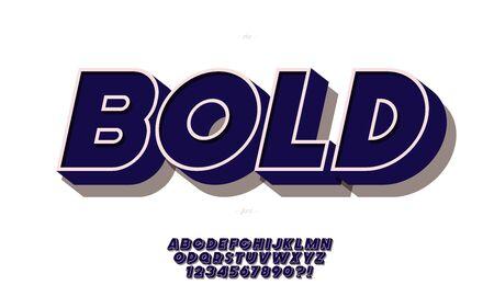 Vector 3d bold font black style