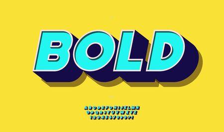 Vector 3d bold font color style Illustration