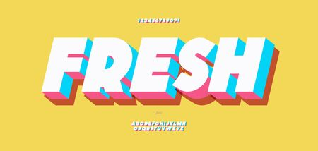 Fresh alphabet 3d bold color style