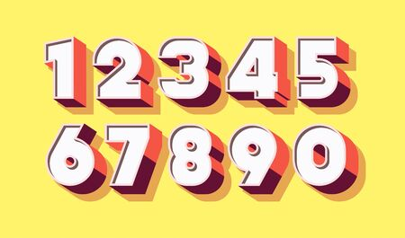 Vector number set 3d bold color style