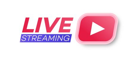 Vector live streaming icon flat style