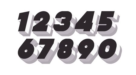 Vector number set 3d bold black and white color style
