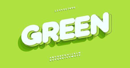Vector green font 3D bold style Illustration