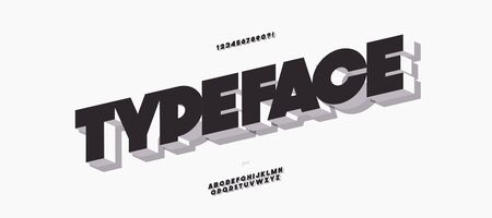 Vector 3d bold font modern typography