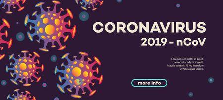 Vector coronavirus banner with bacteria Illustration