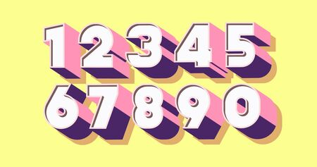 Number set 3d bold color style Illustration