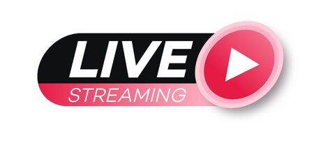 Live streaming icon flat style with play button