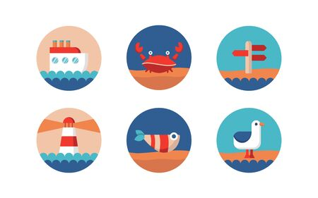 collection of marine themed icons