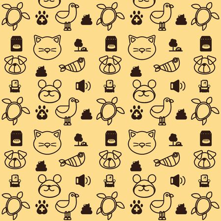Vector pattern and background with icons related to pets and animals