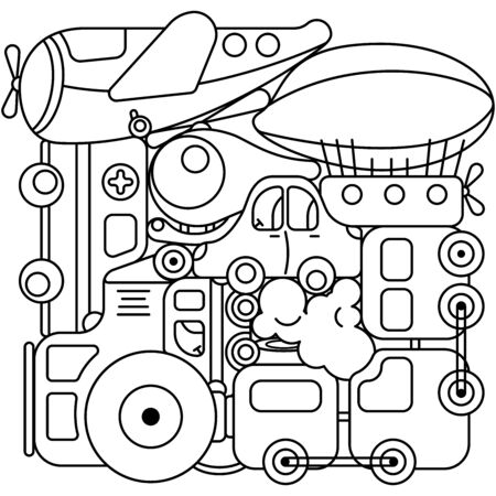 Toy Transport Set to be colored. Coloring book to educate kids. Learn colors. Visual educational game. Easy kid gaming and primary education. Simple level of difficulty. Coloring pages