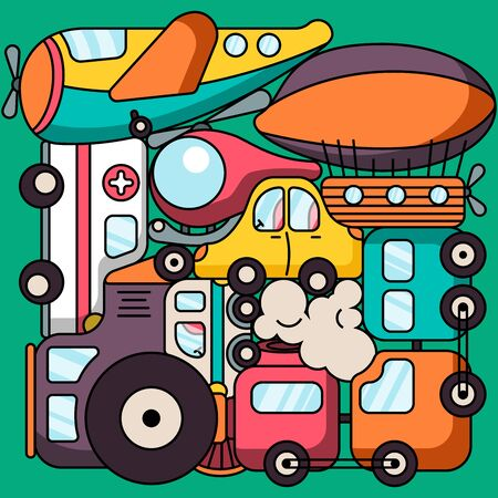 Colorful baby toy transport set isolated on green background. Vector illustration