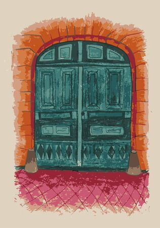 Green door on the street of the old town. Sketch of old street. Vector illustration made in vintage style Illustration