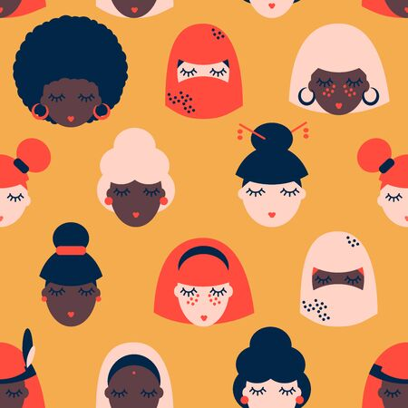 seamless pattern with women of different nationalities and religions, International women day, girl protest. Cute and funny girls characters. Feminism fabric design. Women with different skin color.