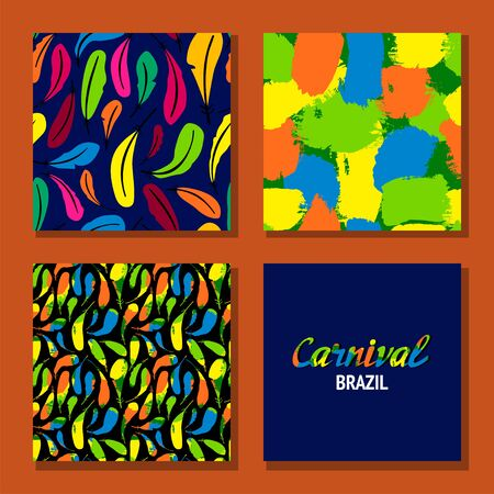 Brazil carnival. Vector templates for carnival concept. patterns and lettering