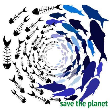 save the planet. Save our Oceans. Ecology print. World oceans day concept, many sea creatures underwater, help to protect animal and environment. Ocean pollution vector illustration. Fish bone Çizim