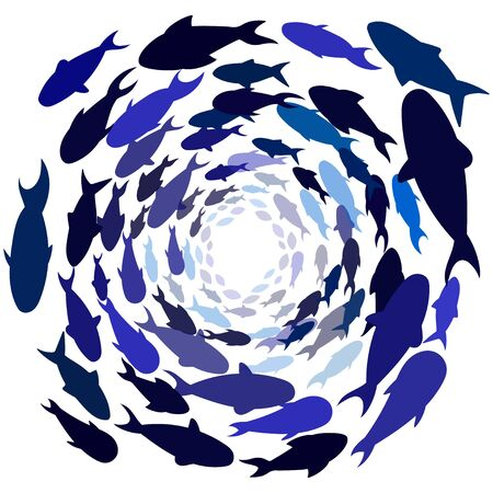 school of blue fish in a circle. Shoal of sea fish swimming in group underwater in the ocean. Vector image. deep under water. classic blue Ilustracja
