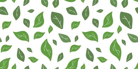 seamless pattern with green leaves. tea leaves. for paper, cover, fabric, interior decor and other users 版權商用圖片 - 138229914