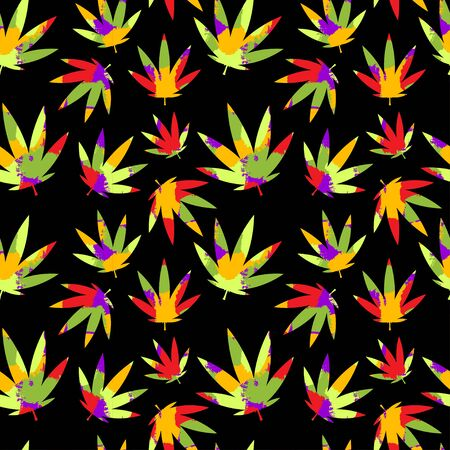 colorful cannabis seamless pattern for cards, print, textile and background with texture effect. green red yellow purple. for packaging cosmetics