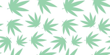 pale green cannabis pattern seamless on white background. for cards, print, textile and background. for packaging cosmetics Ilustrace