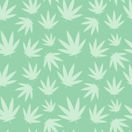 pale green cannabis pattern seamless on green background. for cards, print, textile and background. for packaging cosmetics