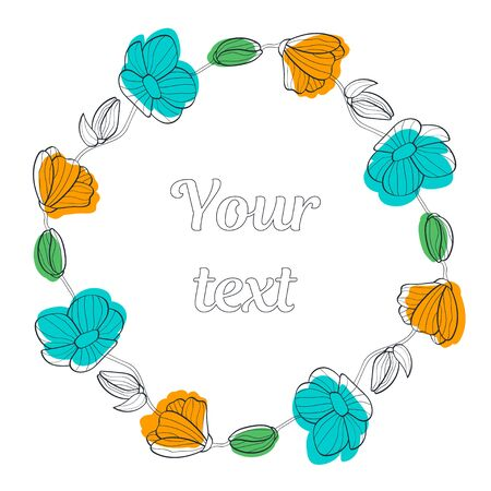 multi-colored linear floral wreaths. yellow and turquoise flowers with leaves and buds. place for your text. for greeting cards, greeting cards, print, booklets, brochures